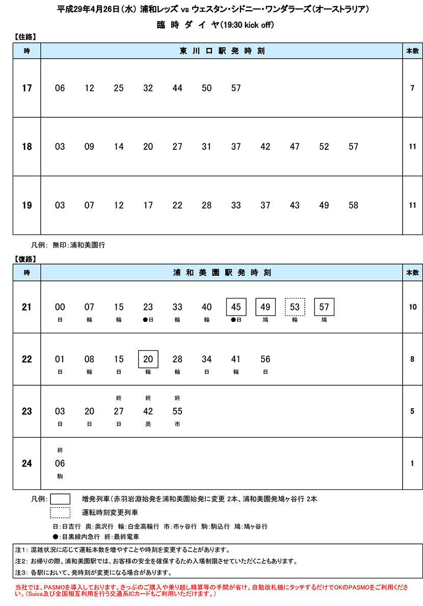 4/26臨時ダイヤ