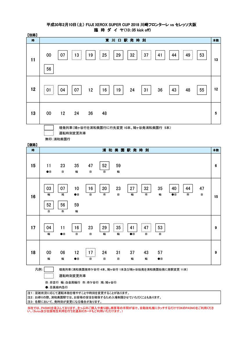 臨時ダイヤ2018年2月10日(土)