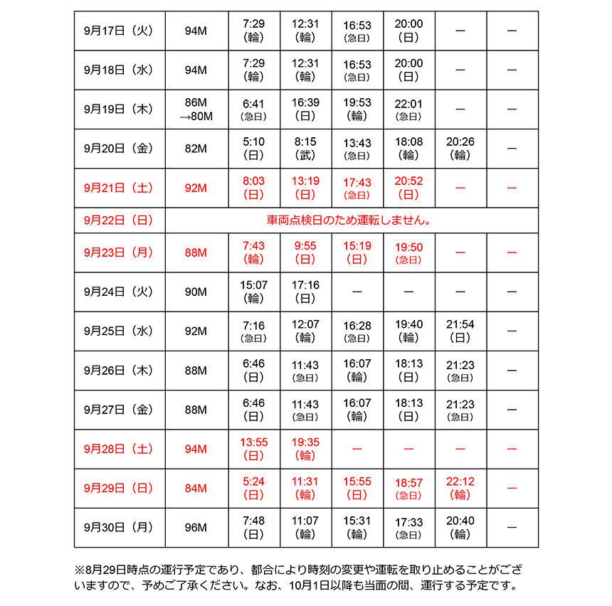 キャプテン翼ラッピング車両9月浦和美園駅発車時刻表