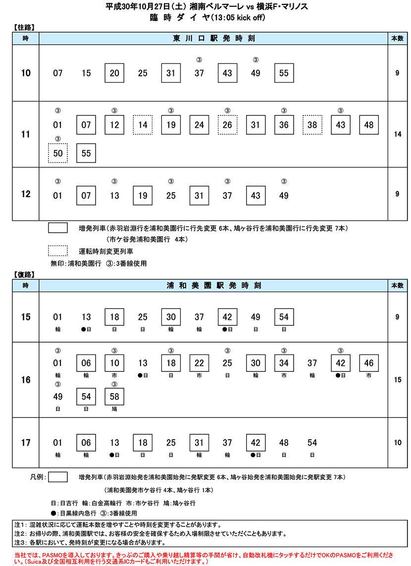 10月27日(土)臨時ダイヤ