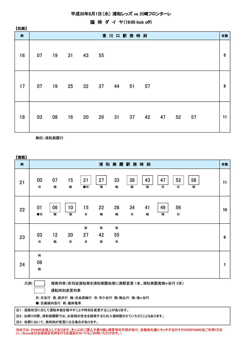 8月1日(水)臨時ダイヤ