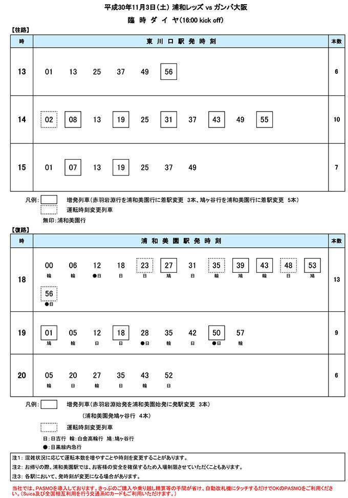 11月3日(土)臨時ダイヤ