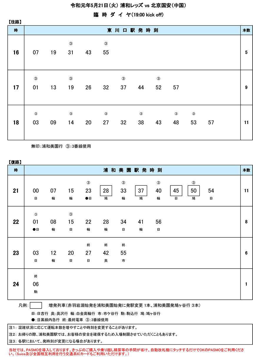 臨時ダイヤ5月21日(火)