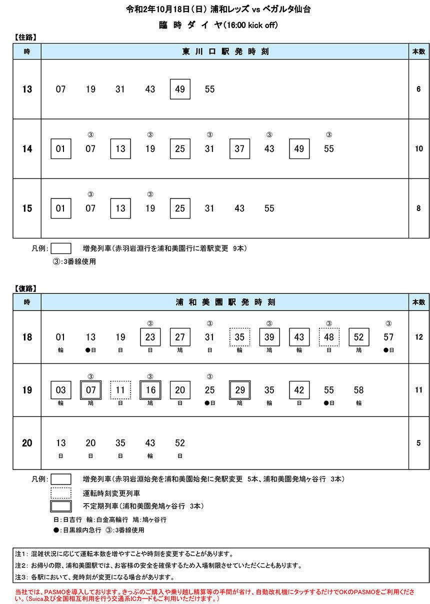 臨時ダイヤ10月18日(日)