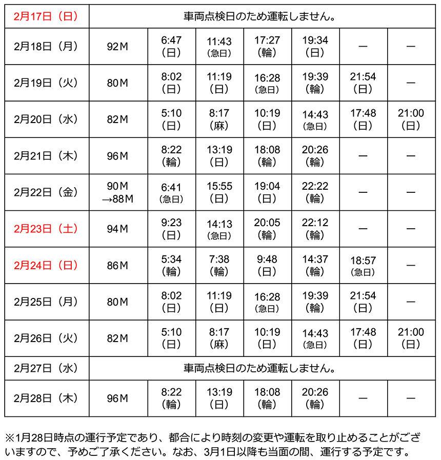 キャプテン翼ラッピング車両 2月浦和美園駅発車時刻表