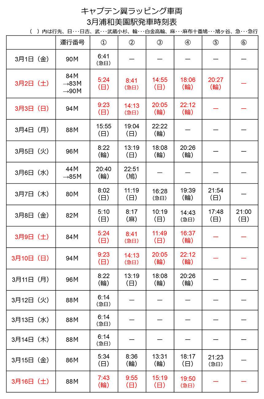 キャプテン翼ラッピング車両 3月浦和美園駅発車時刻表