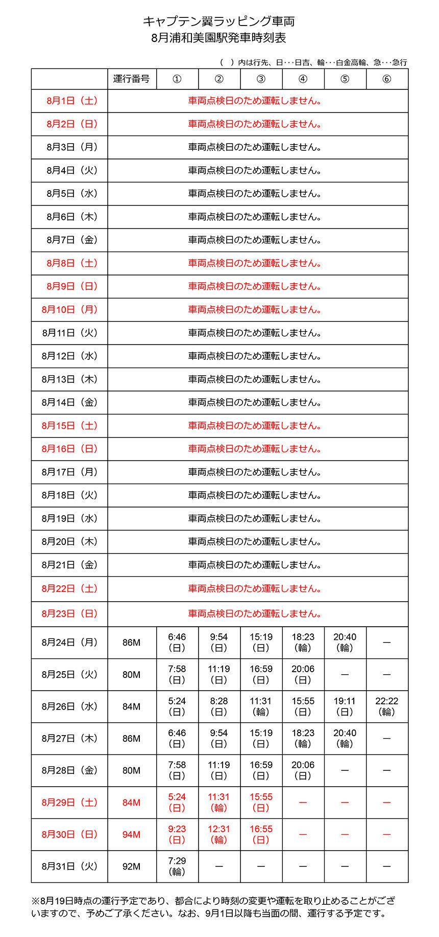 キャプテン翼ラッピング車両8月浦和美園駅発車時刻表(更新)