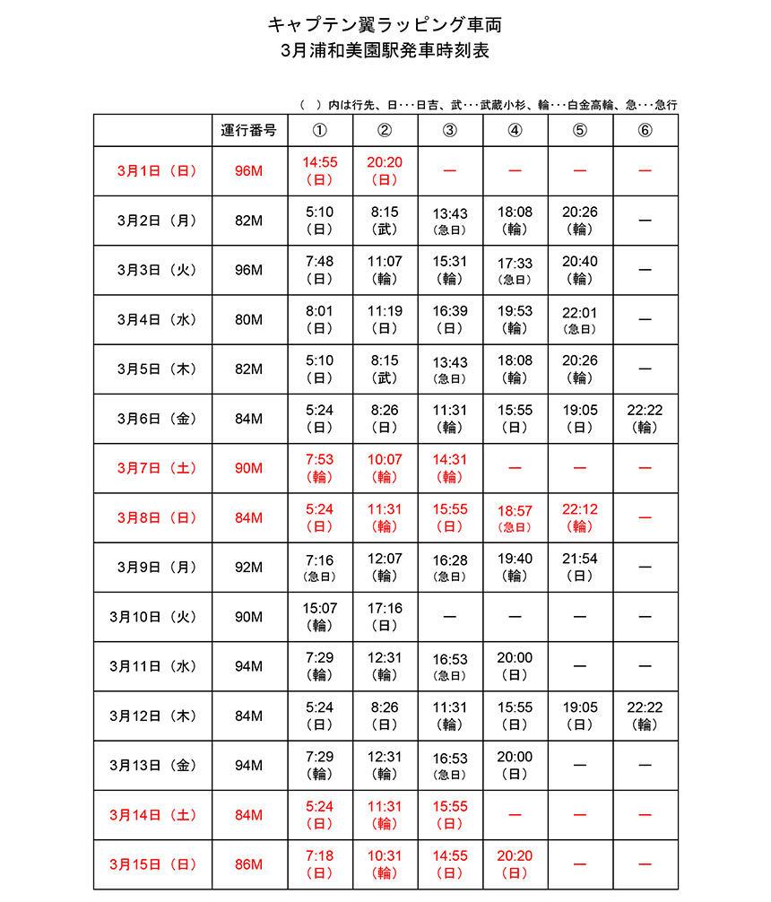 キャプテン翼ラッピング車両3月浦和美園駅発車時刻表